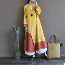 Women Patchwork Color Trench Chinese Style Coats 2019 Fall Long Sleeve V-Neck A-