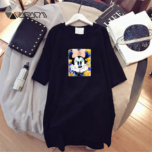 Summer Women Dresses Minnie Mickey Print Casual Loose White Mini Clothes Big Size Dress Harajuku