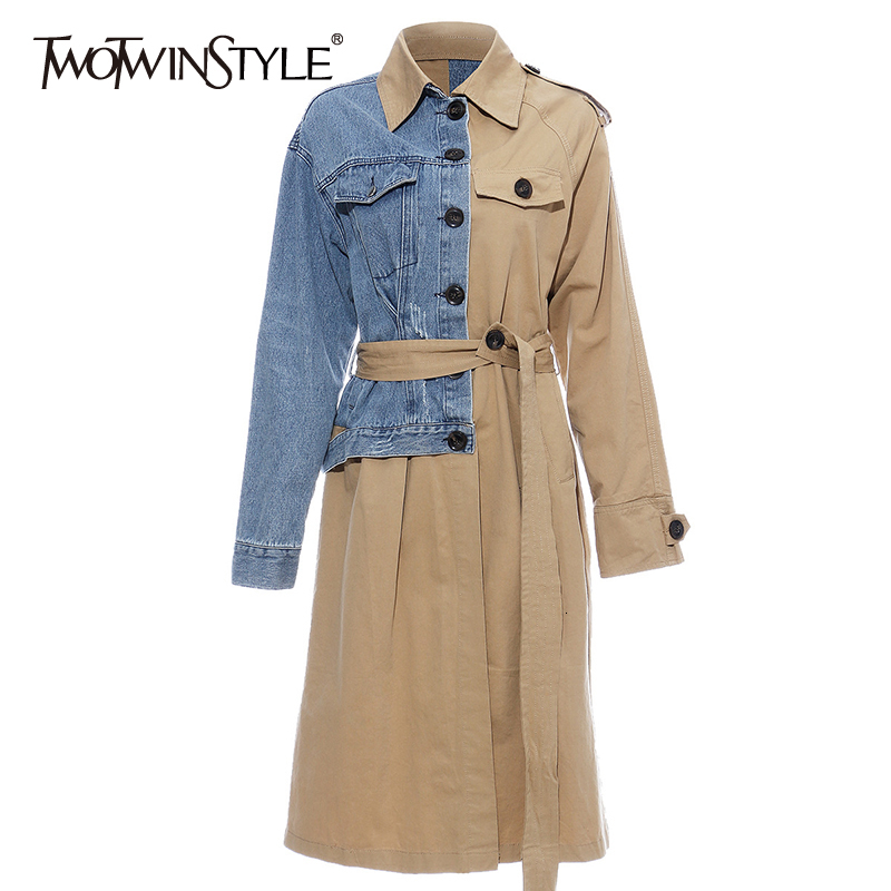 TWOTWINSTYLE Asymmetrical Patchwork Denim Women's Trench Coats Lapel Collar Long Sleeve Loose Female Windbreaker 2020 Autumn New