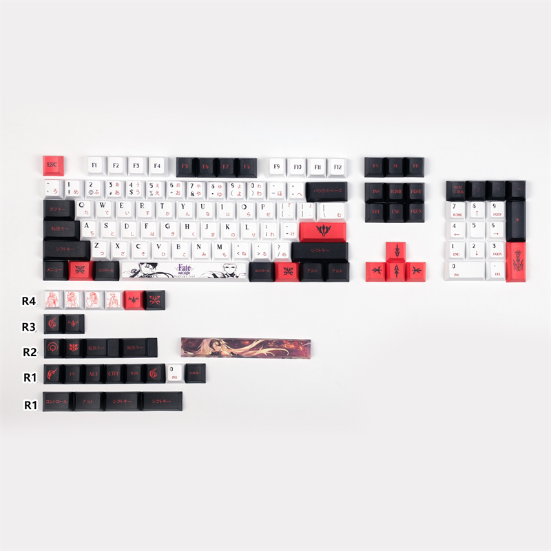 PBT Fate 5 Face DYE-Sublimation Cherry Profile Keycaps for Mechanical Keyboard GH60 GK61 GK64 84 87 104 108