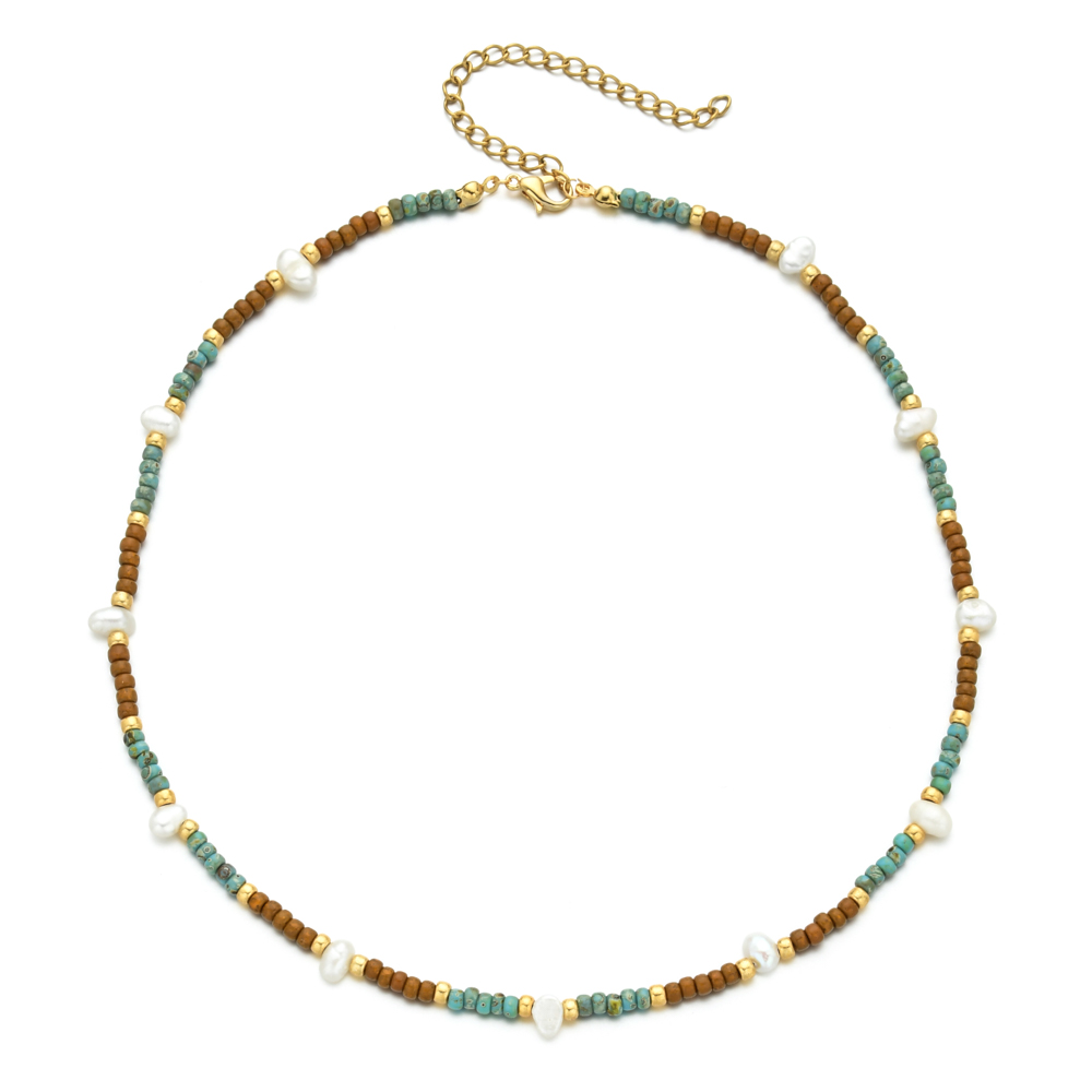 ZMZY Boho Cute Pearl Choker Necklace Women Jewelry Collares Miyuki Glass Beads Fashion Necklace Femme Stainless Steel Chain