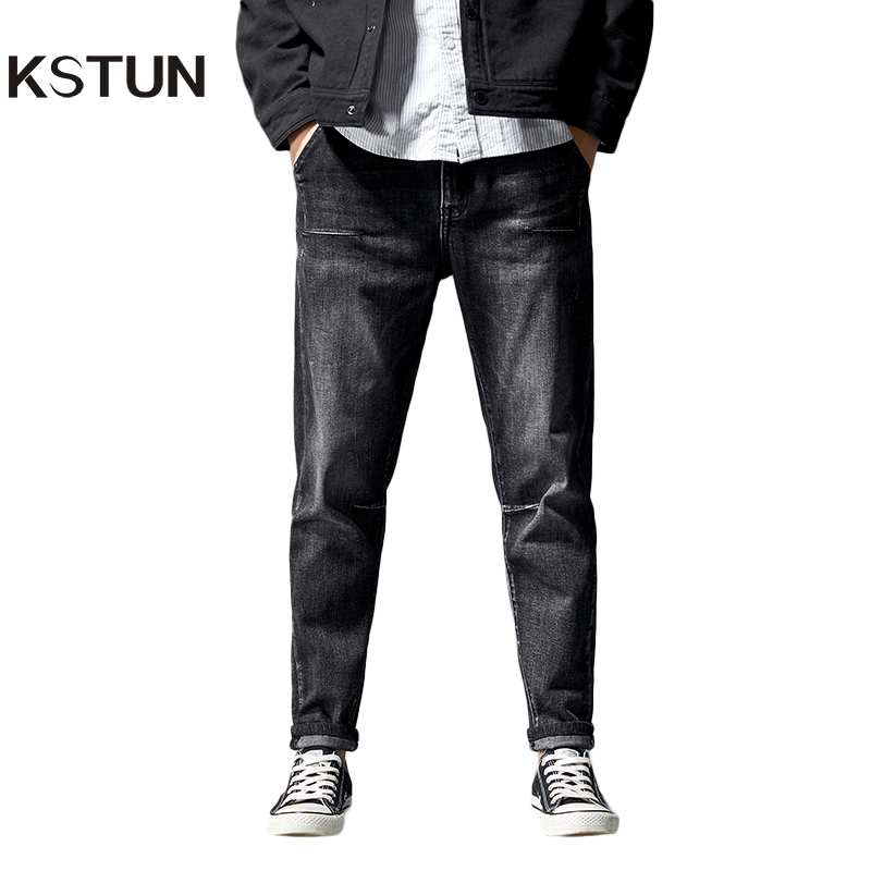 KSTUN jeans for men straight fit through the hips and thighs but tapers near the ankles regular fit well men's trousers elastic