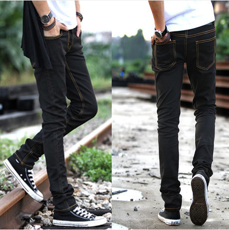 2016 New Style Slim Fit BOY'S Jeans Pure Black Lin Curved Korean-style Yellow Strip Black Trousers Elasticity Skinny Pants Trous