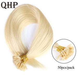 QHP Human-Hair-Extensions Nail Fusion-Hair U-Tip Straight Machine-Made Remy Muti-Color