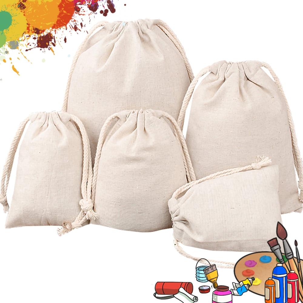 10pcs Blank Cotton Bag Linen Drawstring Bag Gift Bag  Storage Bag Jewellery Bag Cosmetic Bag Custom Bags Coin Pouch DIY Bags