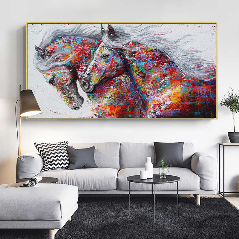 SELFLESSLY Graffiti Art Two Running Horses Canvas Painting Animal Pictures For Living Room Wall Art Prints Decoration Pictures