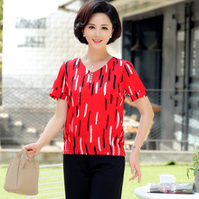 Middle Aged Women Summer Chiffon Blouses Red White Black Short Sleeve V-neck Crepe Tops Female Casual Floral Blouse Plus Size chiffon blouse sexy shirt women tops and blouses ruffles summer autumn shirt casual female chiffon blouse clothing plus size