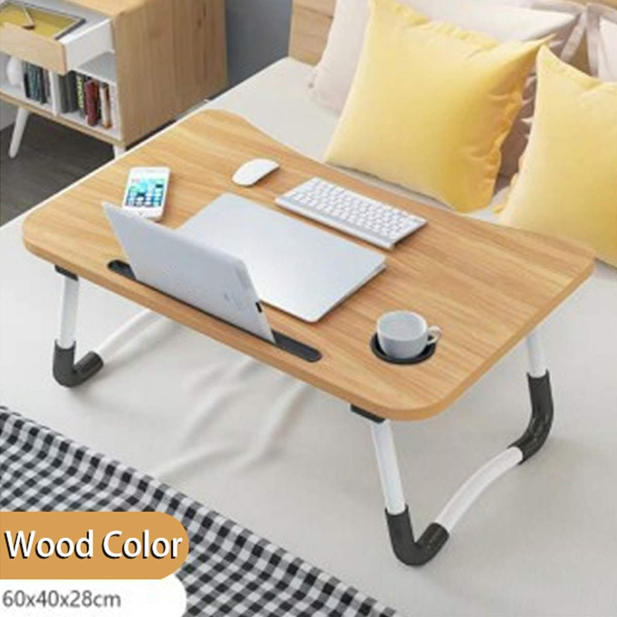 Wooden Foldable Computer Desk Folding Laptop Stand Holder Portable Study Table Desk For Bed Sofa Tea Serving Table Stand