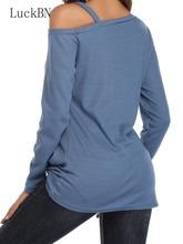 LuckBN Harajuku Off Shoulder Kink T Shirt kobiety pasek Casual koszulki z długim rękawem Top jesień koszulka na zimę odzież damska topy tanie tanio POLIESTER spandex NONE Z KRÓTKIM RĘKAWEM Stałe tops Pełne REGULAR 6003 Sukno WOMEN Odkryte ramię Na co dzień