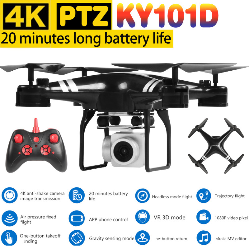 KY101D Quadcopter New Drone With Hd Camera 4k PTZ Professional Drones Camera Platform Wifi Fpv Helicopter Remote Control Toy