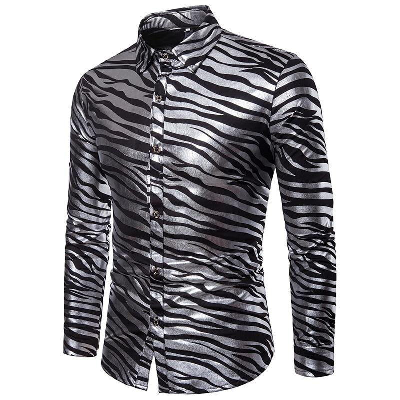 Shiny Gold Bronzing Zebra Striped Shirt Men  Slim Fit Long Sleeve Fashion Dress Shirt Men Nightclub Party Prom Chemise