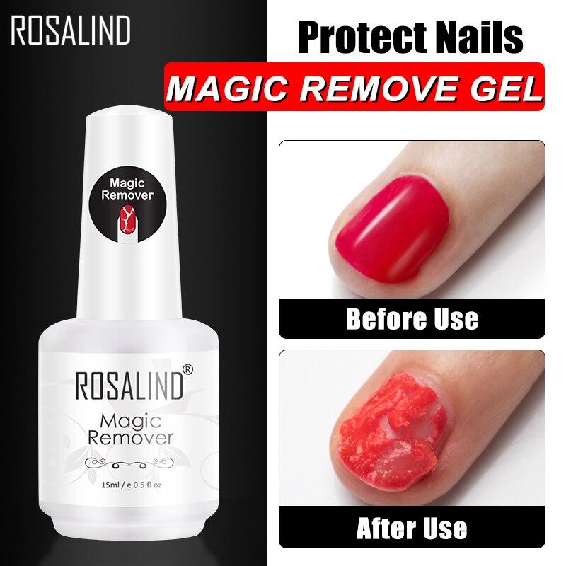 ROSALIND волшебное средство для снятия гель-лака для ногтей, для маникюра, быстрое снятие за 2-3 минуты, снятие УФ гель-лака для ногтей, базовое и топовое покрытие