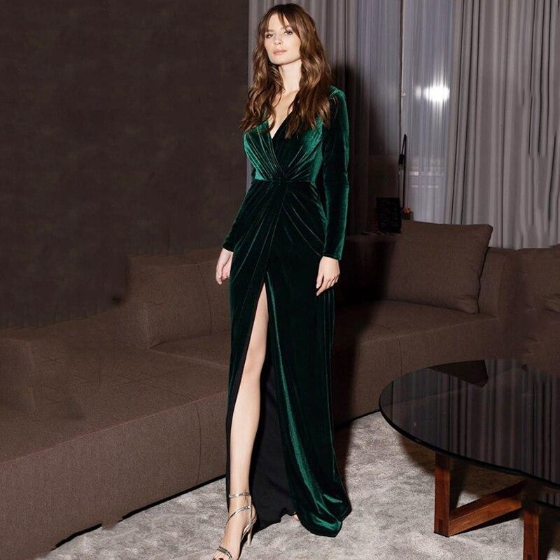 Женское вечернее платье Русалка Verngo, Длинное Элегантное велюровое платье с v образным вырезом, винтажные вечерние платья для выпускного вечера Вечерние платья      АлиЭкспресс