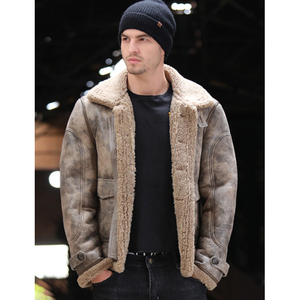 Image 3 - Thicken Real Sheepskin Coat Men Winter Warm Brown Fur Clothing 2019 New Genuine Leather Natural Sheepskin Leather Outwear