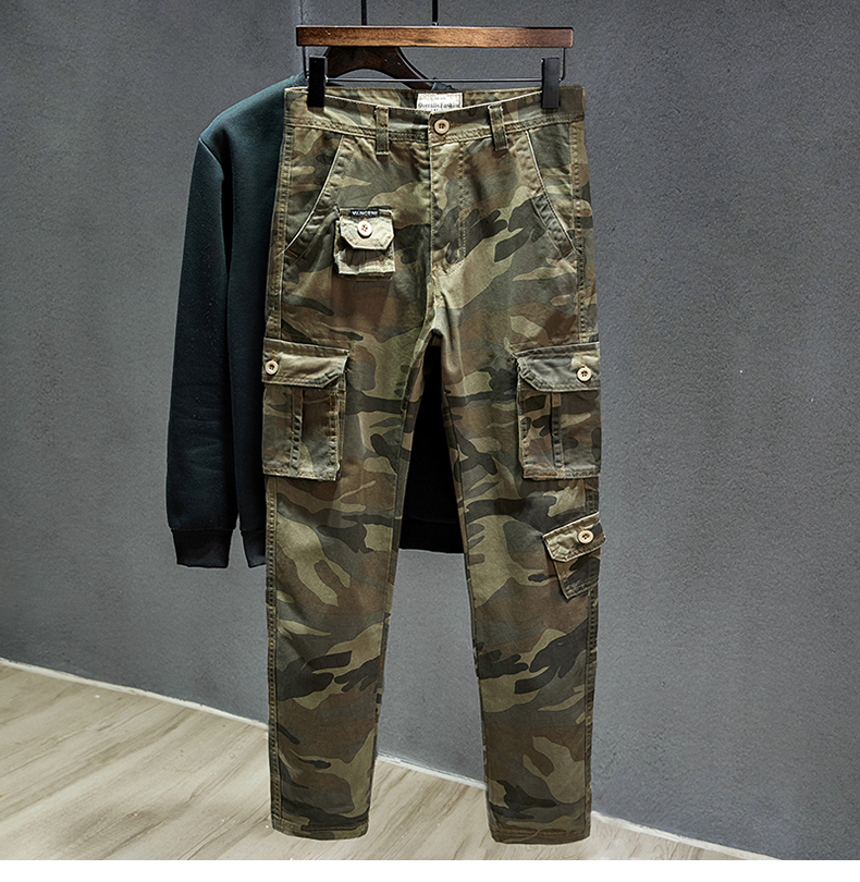 KSTUN Cotton Cargo Pants Men Straight Cut Tactical Military Overalls Multi Pocket Camouflage Pants Khaki Pants Man Trousers Sweatpants 11