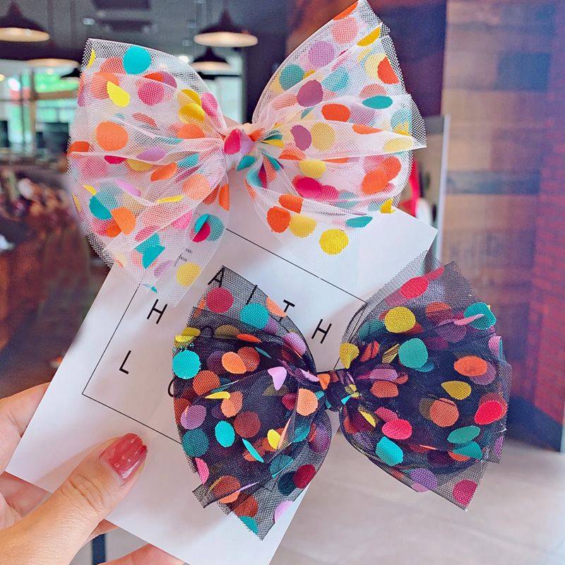 Handmade Girls Rainbow Heart Hair Bow Bobbles Sold In Pairs