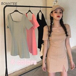 Sukienka damska Retro lato solidna czarna koreański elegancki seksowny Mini-line sukienki damskie moda Split wysokiej talii dziewczyny ubrania imprezowe