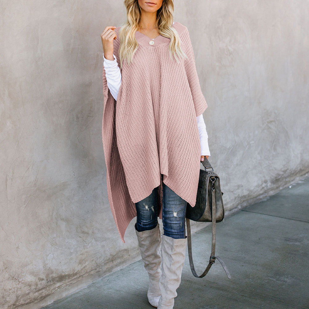 Women's Pullovers Solid Pink Loose Oversize Sweaters Christmas Sweater V-neck Cloak Long Jumper Streetwear Casual Knitted Tops