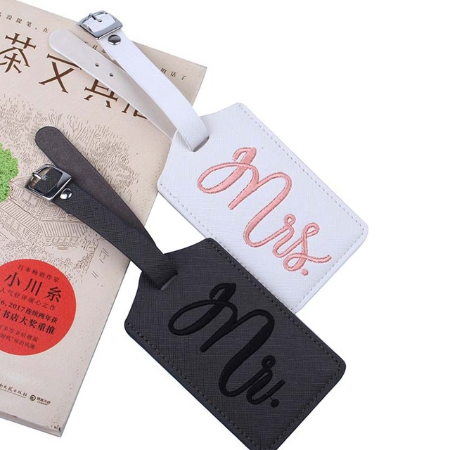 New Fashion Mr Mrs Suitcase Embroidery Luggage Tags Bag Pendant Travel Accessories Name ID Address Wedding
