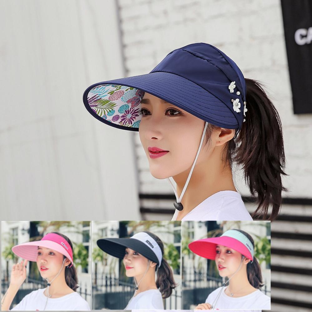 Women Visors Hat Fishing Fisher Beach Hat UV Protection Cap Black Casual Womens Summer Caps