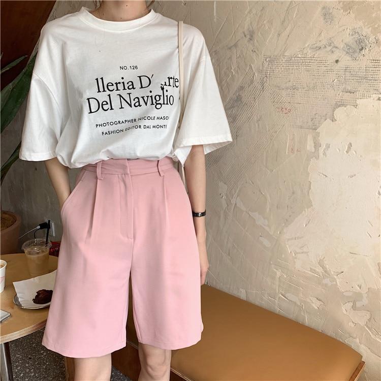 H8976cbcc3c4c4ae2b21502843ba1e5deA - Summer High Waist Wide Leg Loose Solid Shorts