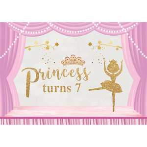 Image 3 - Funnytree photography photo zone ballerina first birthday photozone background party pink stripe dancer backdrop photophone