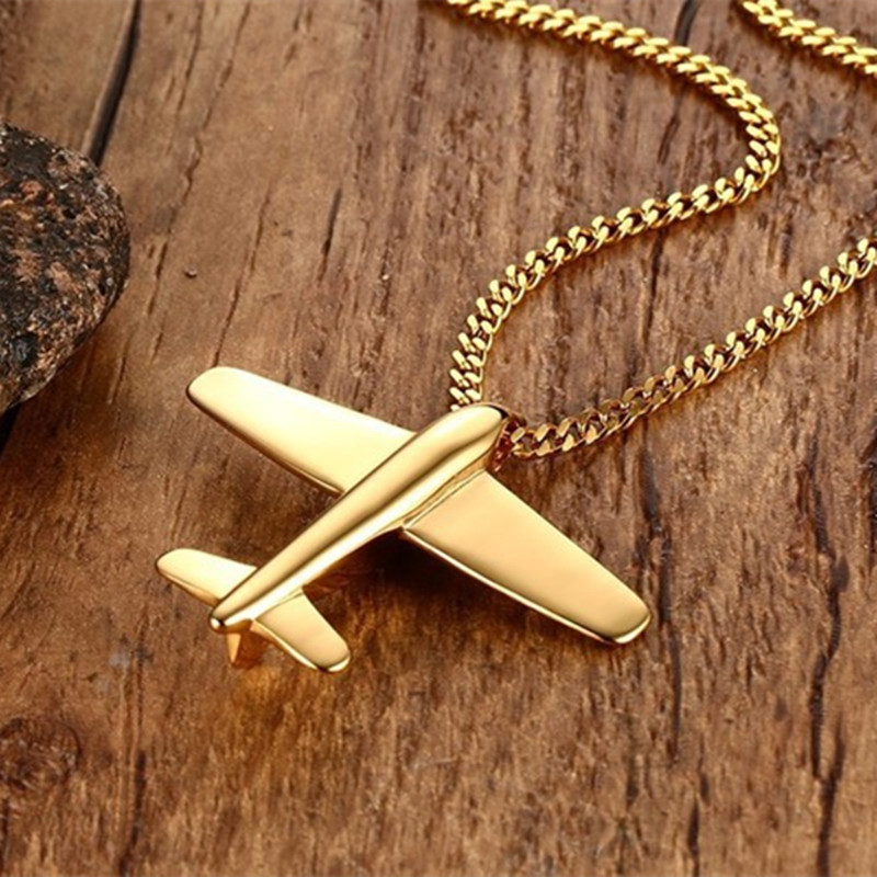 2020 Fashion Aircraft Airplane Necklace Lover Couple Pendant Gold Silver Color Necklaces Pendants Chain Women Men Jewelry Gifts image