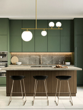 الحديث الشمال بسيط أسود/ذهبي LED نوم قلادة أضواء ديكور المنزل كرة زجاجية معلقة مصابيح غرفة الطعام تركيبات الإضاءة