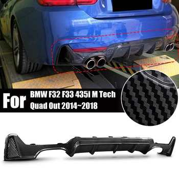 Four Outlet Carbon Fiber Style Rear Bumper Lip Diffuser Car Bumper Lip Diffuser For BMW F32 F33 435i M Tech Quad Out 2014~2018 image