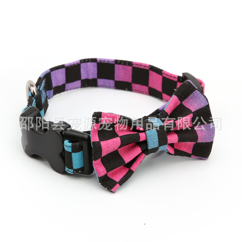 British Style Pet Tie Bow Neck Ring Dog Neck Ring Pet Necklace Dog Tie Canvas Medium Large Dog