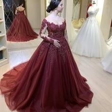 Ball-Gown Evening-Dress Long-Sleeves Sukienki Formal Appliques Scoop Robe-De-Soiree Court-Train