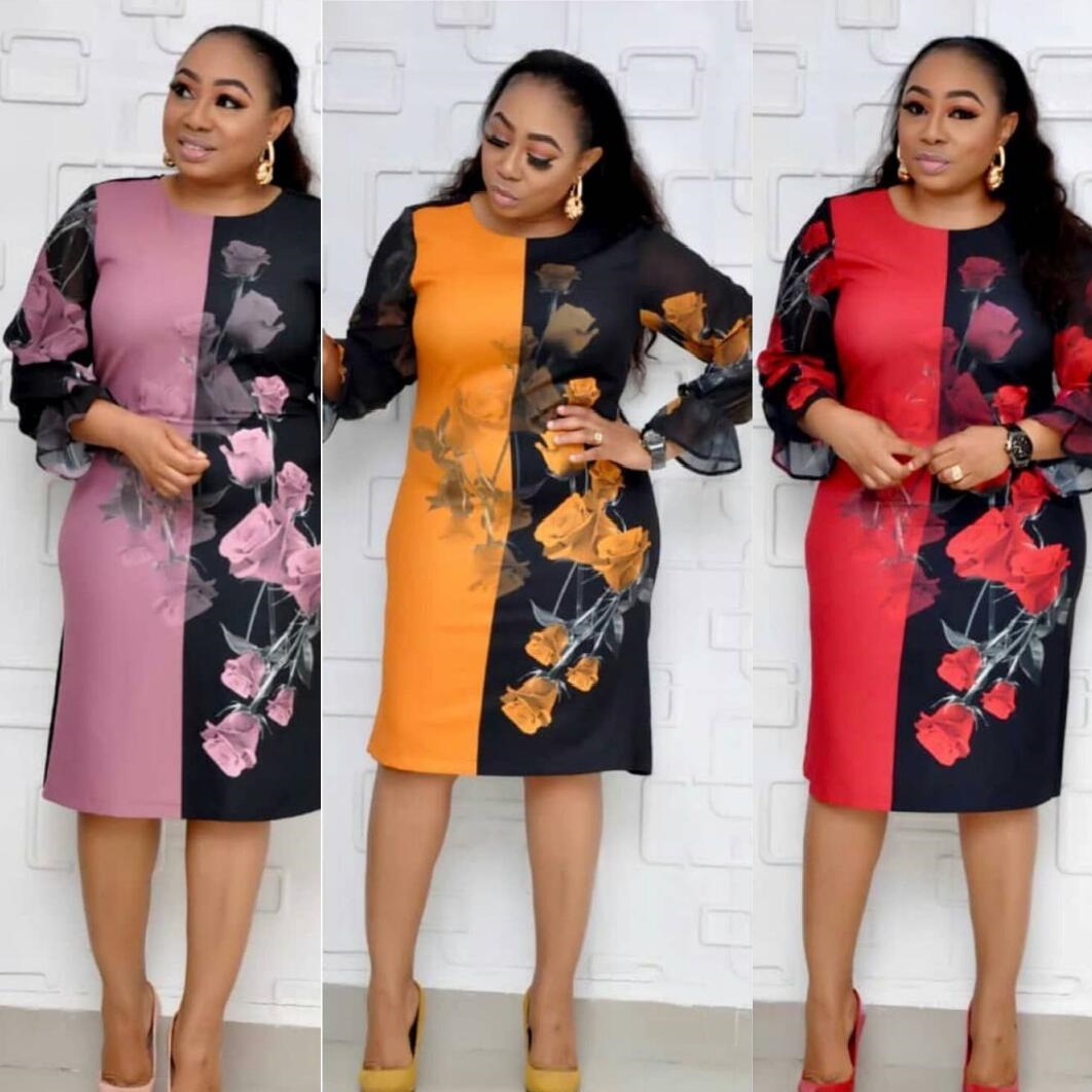 2019 Autumn Elegent Fashion Style African Women Printing Plus Size Knee-length Dress L-3XL