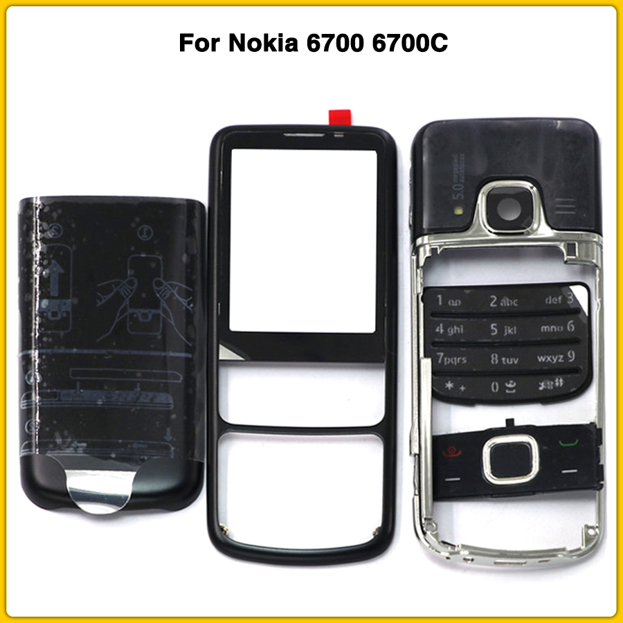 Rear <font><b>6700</b></font> Front Middle Frame Battery Back Cover For <font><b>Nokia</b></font> <font><b>6700</b></font> 6700C Classic Full <font><b>Housing</b></font> case With English / Russia Keypad image