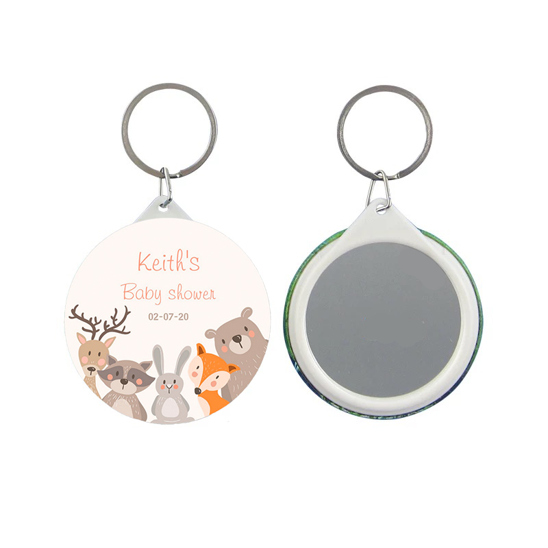 Personalized keychain mirror customized LOGO  name date giveaway Keychain Gala Favors party Gifts For Guests Wedding Souvenirs