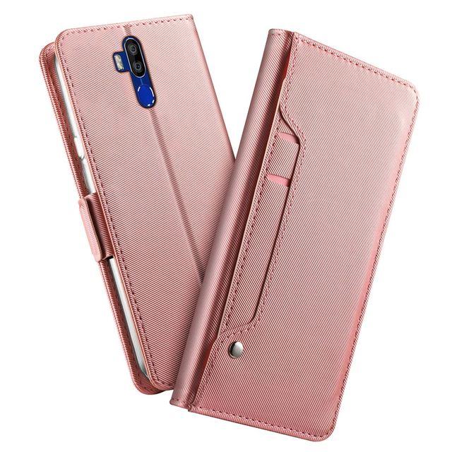 Para oukitel k9 caso fosco luxo couro do plutônio carteira flip suporte capa com espelho e slots de cartão para oukitel k9 caso à prova de choque