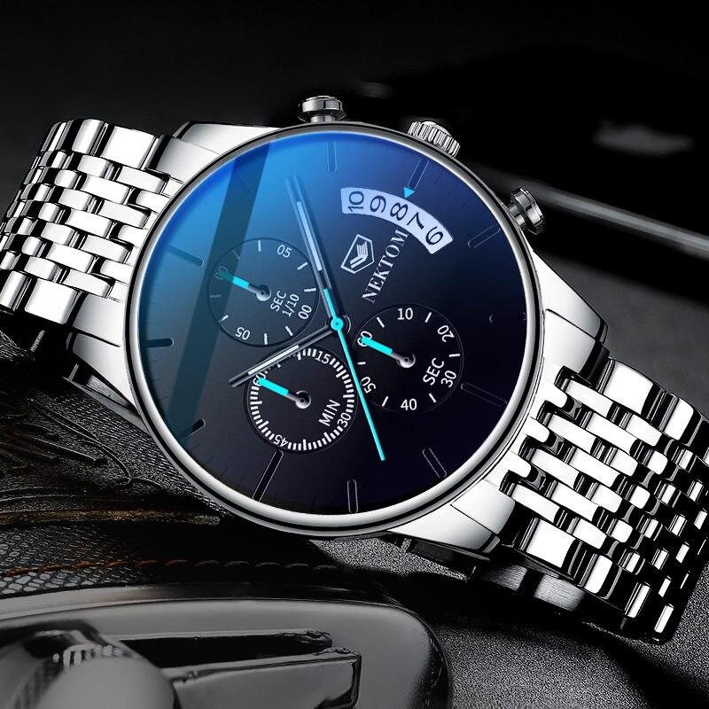 NEKTON Casual Chronograph Multifunction Mens Watches Top Brand Luxury Waterproof Luminous Quartz Clock Men Relogio Masculino