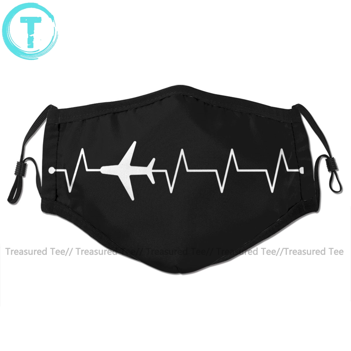 Aviator Pilot Mouth Face Mask Airplane Pilot Heartbeat Facial Mask Fashion Funny With 2 Filters For Adult