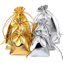 100pcs/bag 13x18 15x20 17x23 20x30cm Adjustable Jewelry Packing silver/ gold colors drawstring Velvet bag Wedding Gift Bags