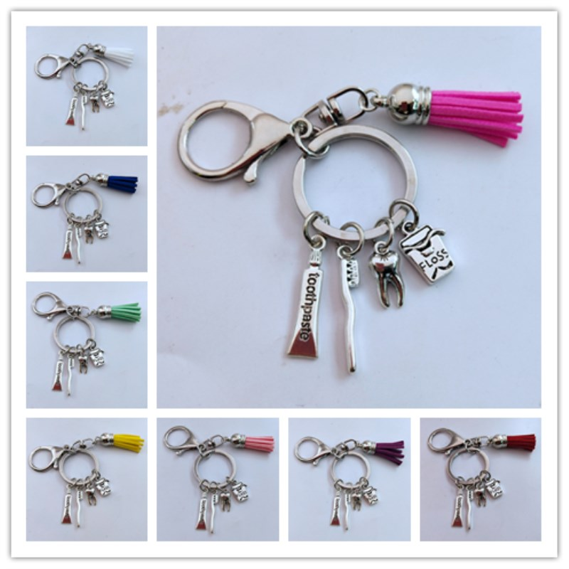 New Toothbrush Floss Toothpaste Tooth Key Holder Dental Hygienist Keychains Decorative Backpack Pendant Keyring