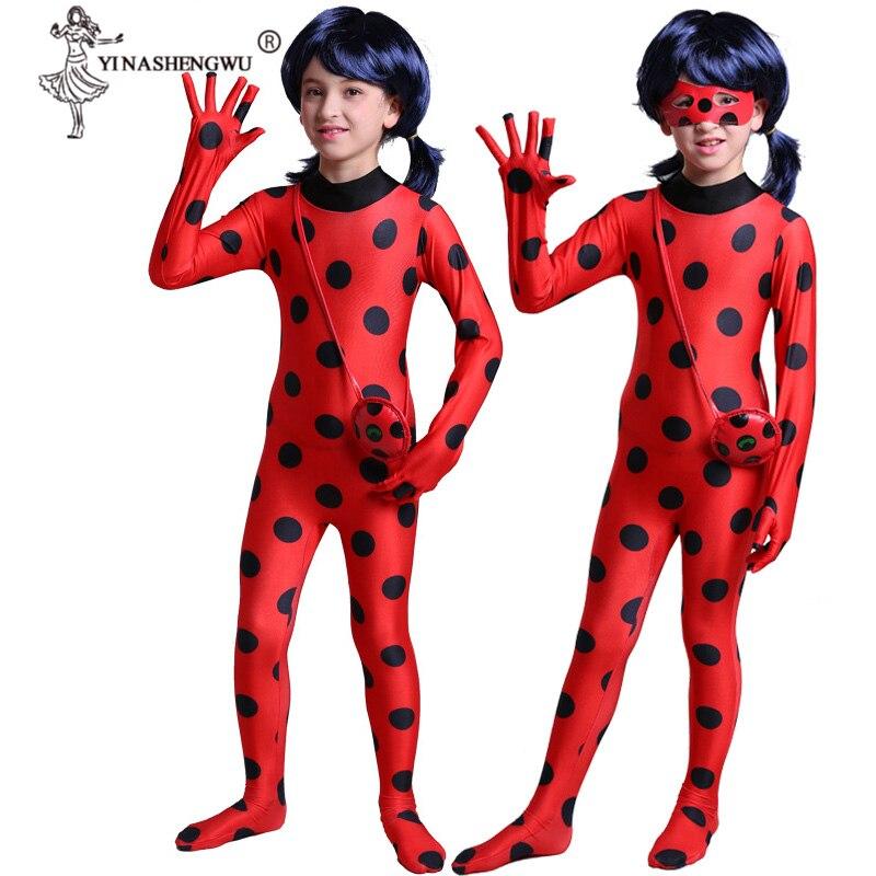 Ladybug Girls Costume Fantasia Kids Adult Lady Bug Costumes Women Child Spandex Jumpsuit Fancy Halloween Cosplay Marinette Wig