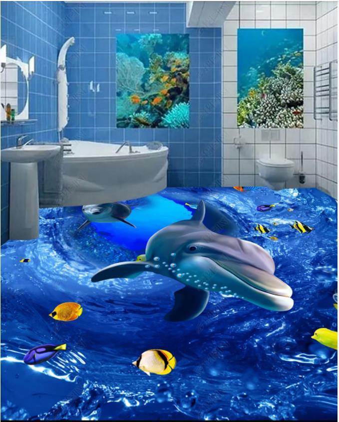 Papier peint photo personnalisé pour murs 3 d revêtement de sol papier peint mural HD 3D océan monde dauphin peinture au sol mural Stickers muraux