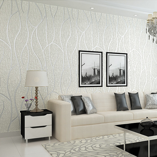 3D Thick Suede Non-woven Wallpaper Modern Minimalist Living Room Television Sofa Model Room Wallpaper