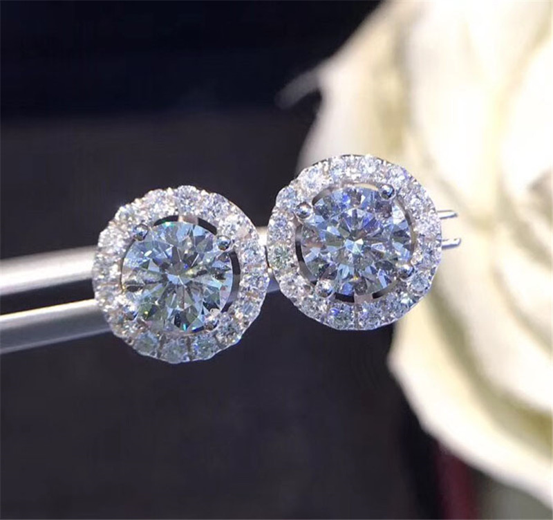 Trendy Diamond Stud Earring Real 925 Sterling Silver Jewelry Tennis Engagement Wedding Earrings For Women Bridal Party Gift