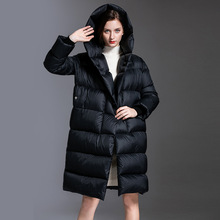 Shuchan Black Thick Winter Down Jacket Women Warm Womens Fashion Jackets Covered Button 90% White Duck Hooded