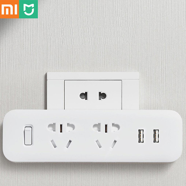 Xiaomi Mijia Power Strip Converter Portable Plug Travel Adapter for Home Office 5V 2.1A 2 Sockets 2 USB Fast Charging H20