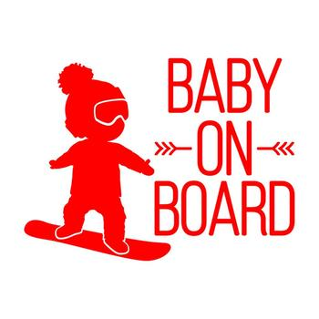 Exterior Funny Car Stickers 16x12cm BABY ON BOARD Snowboard Waterproof Creative Car Styling Window Sticker Decal image
