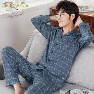Image 4 - J & Q Neue Pyjama Set Männer Revers Marke Qualität Schlaf Top & Bottoms Freizeit Haus Tragen Plaid Pyjamas Plus größe Männlichen Strickjacke Nachtwäsche