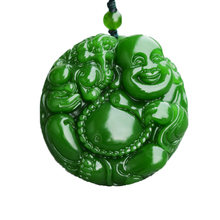 DropShipping Natural Green Nephrite Jades Carved Happy Maitreya Buddha Pendants Fit Fashion Sweater Necklace Jewelry(China)