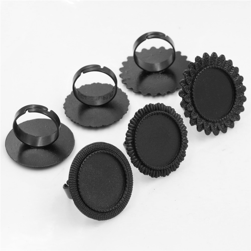 20mm 5pcs Black Plated 3 Style Adjustable Ring Settings Blank/Base,Fit 20mm Glass Cabochons,Buttons;Ring Bezels