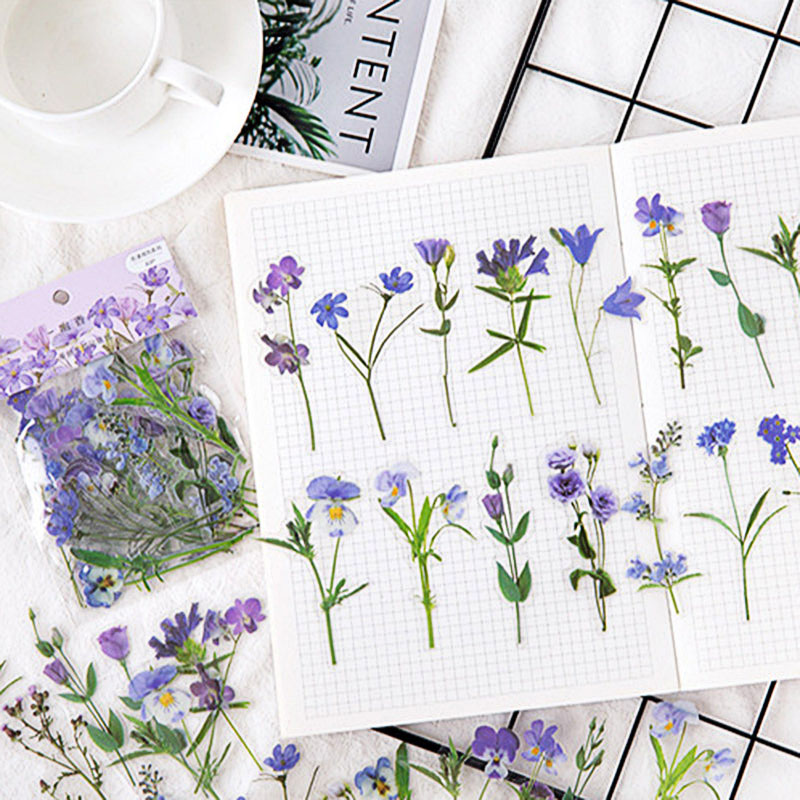 40Pcs Cute Tulip Daisy Decorative Stickers Kawaii Flower Stationery Stickers PET Adhesive Sticker For Kids DIY Diary Supplies